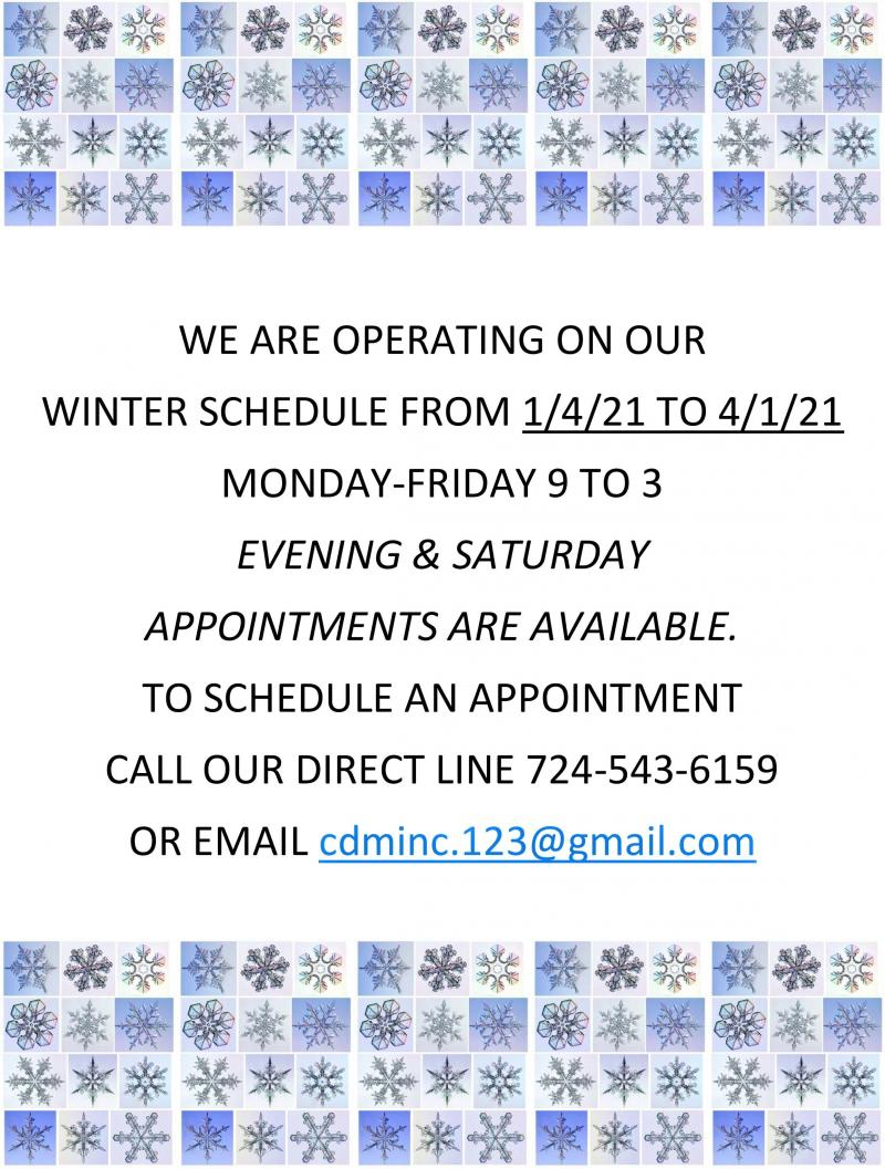 2021 Winter Hours